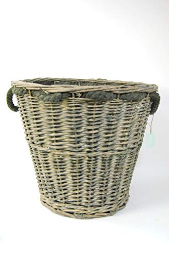 Vintage Belle Log Wood Basket Rattan Wicker Round with Rope Handles Grey Brown