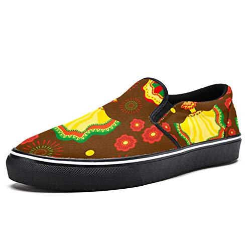 TIZORAX Cinco de Mayo Vestido de Fuegos Artificiales Rojos Florales Deslizamiento en Mocasines Zapatos para Hombres Niños Moda Lona Plana Barco Zapato, color Multicolor, talla 44 EU