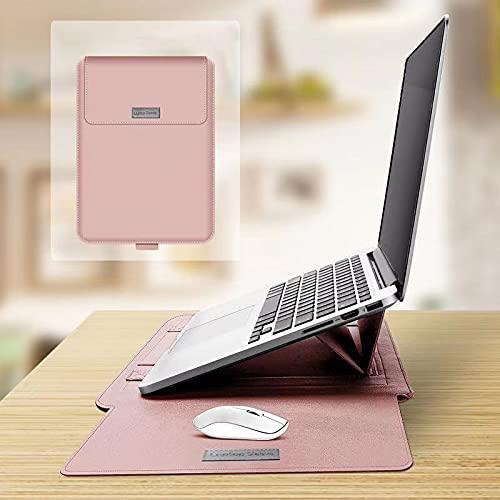 Leather Laptop Sleeve Integrated with Adjustable Stand and Mouse Pad, Fit to 13-14 Inches Macbook/MacBook Pro/MacBook Air/Surface Book/New iPad Pro,Configured with Accessary Bags-Pink