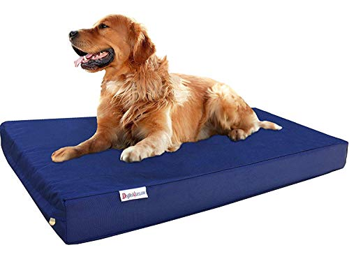 Dogbed4less XL Orthopedic Gel Cooling Memory Foam Dog Bed for Large Pet, Waterproof Liner and 1680 Ballistic Navy Blue External Cover, 47X29X4 Inches (Fit 48X30 Crate)