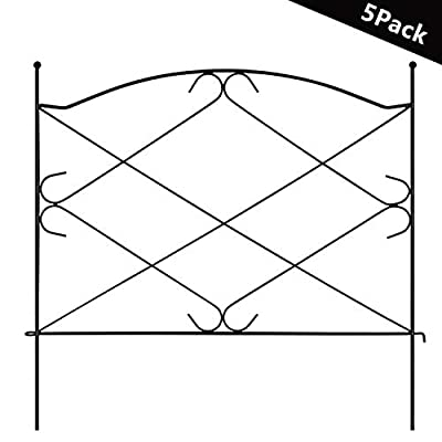 "Tingyuan Decorative Garden Fence Rustproof Iron Border Fence for Flower Bed Pet Barrier, 24"" Wide x 24"" High?Pack of 5, 10 Ft Overall?Black"