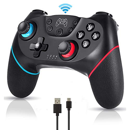 YESSICA Wireless Bluetooth Switch Pro Controller Gamepad Joystick para Nintendo Switch y PC, admite giroscopio y sensor de gravedad, vibración dual, función turbo y función de captura co cable de