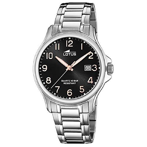 Lotus Herren Analog Quarz Uhr mit Edelstahl Armband 18645/3