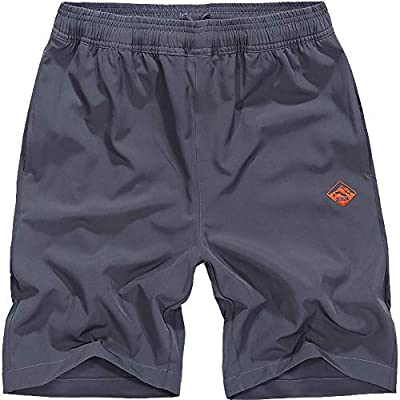 XinYangNi Men Outdoor Sports Shorts with Zipper Pockets Quick Dry Hiking Shorts Dark Grey US 41-42