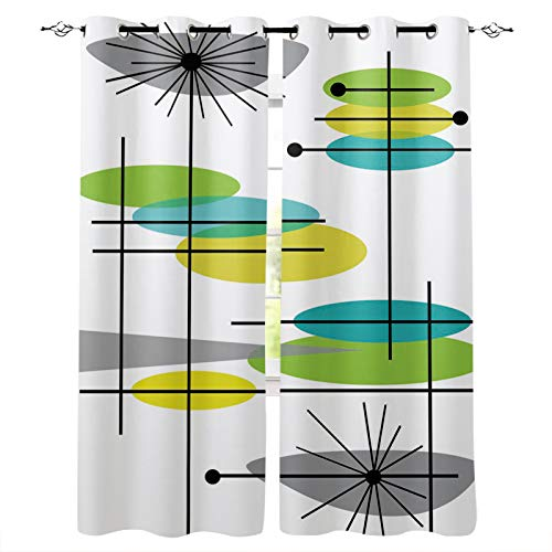 """BetterDay Draperies & Curtains Panels for Living Room Bedroom Mid Century Modern 44 Window Curtains for Solding Glass Door - Set of 2 Panels, 80"""" W by 84"""" L"""