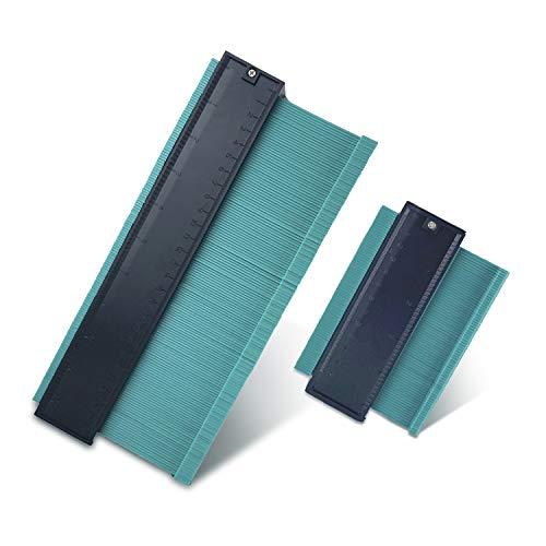 ikikin 測定ゲージ コンターゲージ 角度測定 型取りゲージ 曲線定規 コンターゲージ DIY用測定工具 輪郭コピー 角度測定 ロファイルゲージ ユニバーサル 角度 定規 すべて 適用 目盛り120mm/250mm 2点セット (グリーン)