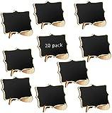 Mini Tableau Noir,20 PCS Mini Ardoise pour Décoration de mariage Message Board Marque place Panneau de Fête 10x7,5 cm