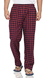 Fflirtygo Mens Cotton Pyjama Bottom, 100% Cotton Export Quality Fabric, Brown Check Pyjama for Men, Mens Leisure Wear, Night Wear Pajama
