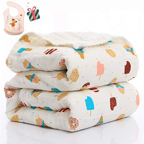 Swaddle Deken Baby voor Jongens of Meisjes Pasgeboren, Chickwin Flamingo Print Zacht Puur Katoen Vierkante Muslins Doeken Peuter Unisex Slapen Deken voor Kinderbedje 110x110cm IJs