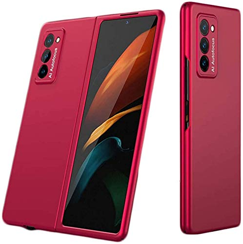 2pcs 360-degree Protection with Elegant Appearance,Anti-fingerprint and Ultra Thin For Samsung Galaxy Z Fold 2 5G Shockproof 2nd Generation Case Cover (Cola Red)