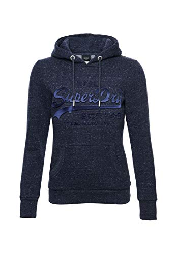 Superdry Damen Vintage Logo Tonal Hoodie mit Satin und Prägung Sattes Marineblau Meliert 40