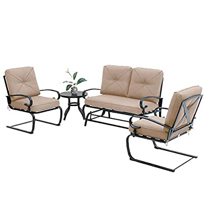 Oakmont Outdoor Furniture Patio Conversation Set Glider Loveseat, 2 Chairs with Round Side Table Spring Lounge Chair Sets Metal Frame Wrought Iron Look (Brown)