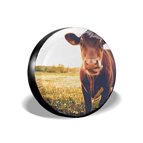 Yushg Glückliche einzelne Kuh auf Einer Wiese während des Sonnenuntergangs im Sommer Jeep-Ersatzreifen-Abdeckungen Reifenseitenwand-Schutz-Reifen-Abdeckung wasserdichte UV-Sonne 14