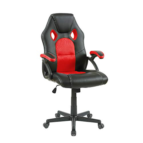 Neo® Draaibare PU lederen mesh Office Racing Gaming Stijl Computer bureaustoel Modern design 118cm X 53cm X 53cm Rood en Zwart