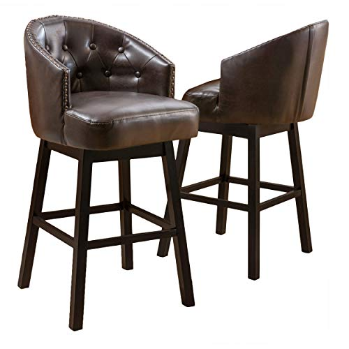 Christopher Knight Home Ogden KD Swivel Barstool (2 piece set) - Brown