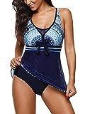 Zando One Piece Swimdresses Swim Dress Swimwear Skirted One Piece Bathing Suit Swimming Swimsuits for Women Blue XL (US 14-16)