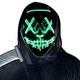 Purge Mask Light up,Halloween Mask LED Light up Masks Scary mask for Festival Cosplay Halloween Costume Masquerade Parties,Carnival,Green