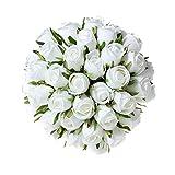 T4U Ramo de Rosas Artificiales de Seda - 36pcs Blanca, Plantas Plastico Decorativas de Imitación para Arreglos Florales para el Hogar, la Oficina o Las Bodas