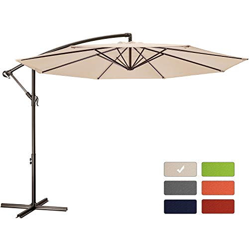 Patio Umbrella 10 ft Cantilever Offset Umbrella Outdoor Market Hanging Umbrellas Garden Umbrella & Crank with Cross Base, 8 Ribs (10 FT, Beige)