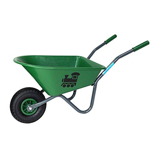 Baumarktplus Kinderschubkarre mit Motiv Schiebkarre Metallschubkarre Gartenkarre (Grün)