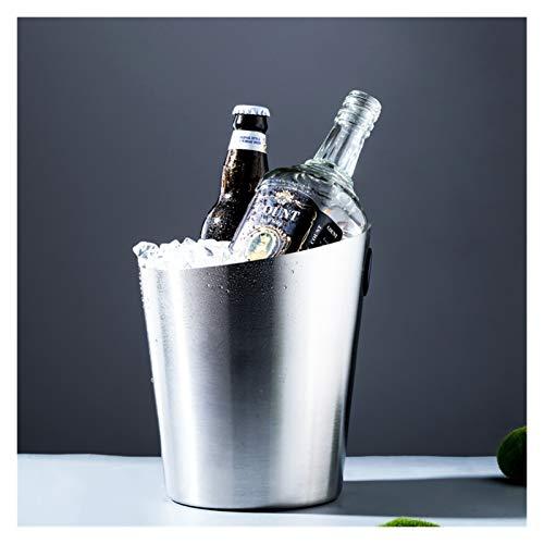 Cubeta de hielo Acero inoxidable Cubo de hielo Vino Hielo Refrigerador Barras Accesorios de cocina Cerveza Champagne Whisky Congele Bucket Party Decoración del hogar (Color : Silver)