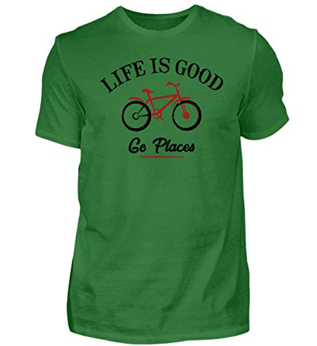 Generisch Life is Good - Maglietta da Uomo per Ciclismo Go Places Kelly Verde XXL