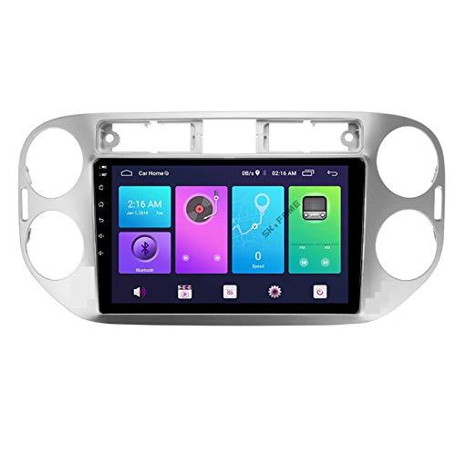 Nav Android 10.0 Car Stereo Double DIN para Volkswagen TIGUAN 2010-2016 Navegación GPS Unidad Principal de 9 Pulgadas Reproductor Multimedia MP5 Receptor de Video y Radio con 4G WiFi DSP