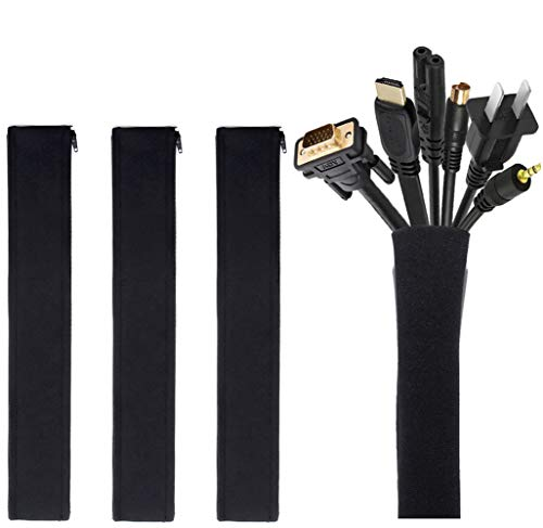 Cable Management Sleeve, JOTO Cord Management System for TV / Computer / Home Entertainment, 19 - 20 inch Flexible Cable Sleeve Wrap Cover Organizer, 4 Piece - Black