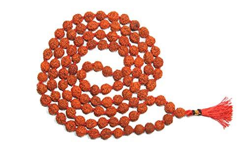 IndianStore4All Certified 5 Mukhi (Face, Panchmukhi) Rudraksha Japa Mala 108 + 1 Rudraksh Bead Mala Red Knotted Mala with Red Tassel (8.0mm)
