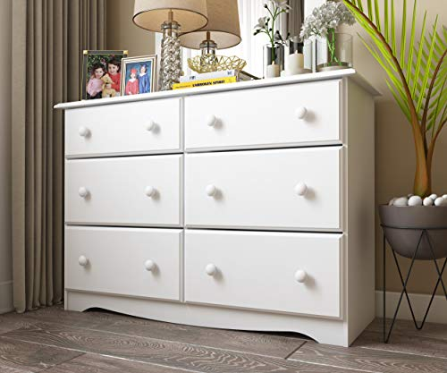 "100% Solid Wood Double Dresser with 4 Super Jumbo Drawers by Palace Imports, White, 48""W x 33""H x 17""D. Optional Mirror, Antique Brass Knobs Sold Separately. Requires Assembly"