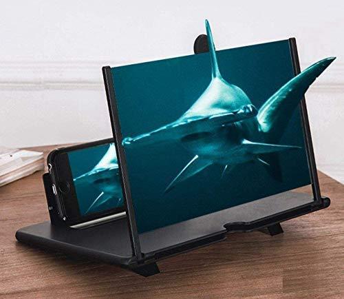 HUZIHI 12 Zoll Handy Lupe,3D Bildschirm Vergrößerungsglas für das Ansehen von Filmvideos,Faltbarer Handylupe Bildschirm Vergrösserung für alle Smartphones– 4-fache Vergrößerung(schwarz)