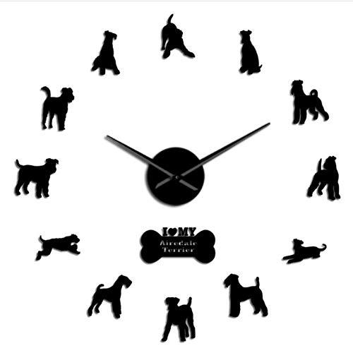 asqwq Bentley Terrier DIY große Wanduhr Acrylspiegel Wohnzimmer Schlafzimmer Hauptdekoration stumme Uhr(schwarz)