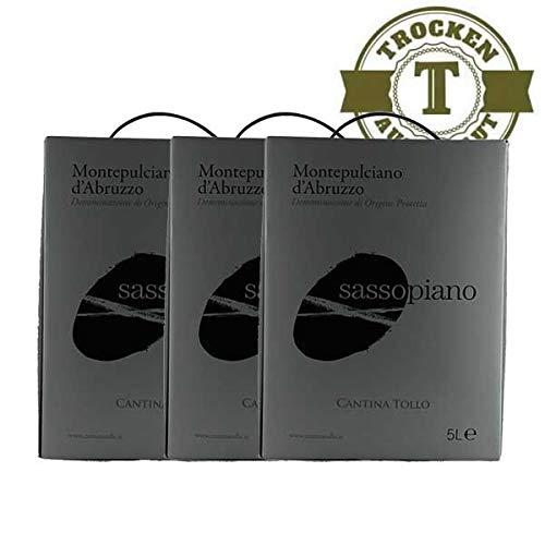 Rotwein Italien Montepulciano d´Abruzzo Sassopiano Bag in Box trocken (3x5,0l)