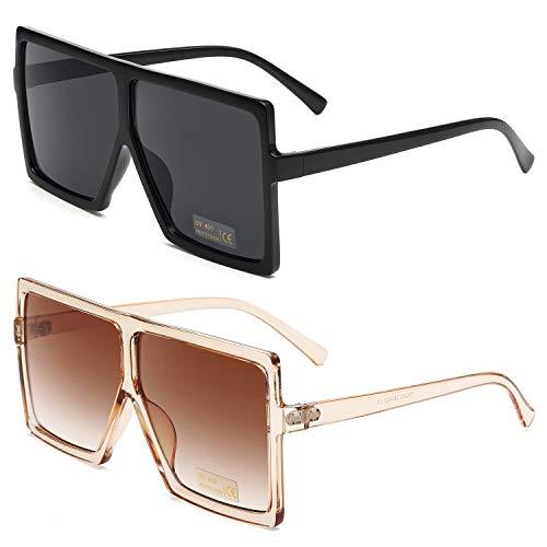 GRFISIA Square Oversized Sunglasses for Women Men Flat Top Fashion Shades (2PCS-Black-orange, 2.56)