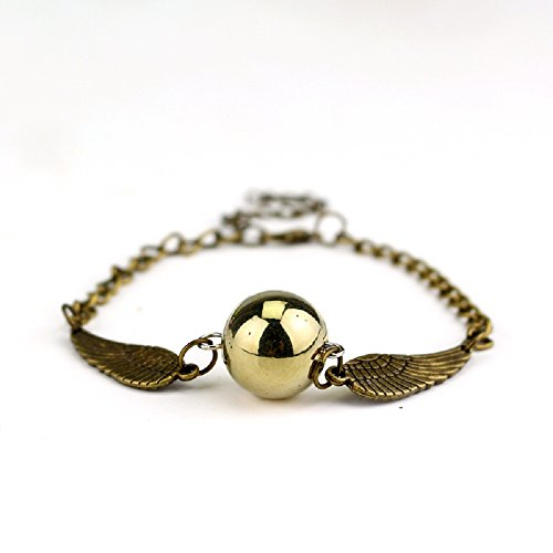 HarryPotter Pulsera Quidditch Snitch Dorada Regalo (Bronce)