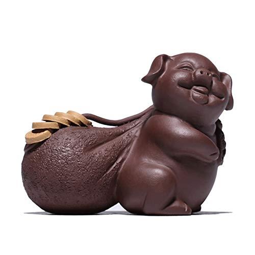 Escultura Decorativa Estatua en forma de cerdo de arcilla púrpura clásica y una bolsa de dinero 3.6 * 2.9 pulgadas de decoración y decoración resistente a la intemperie for casas, apartamentos, yardas