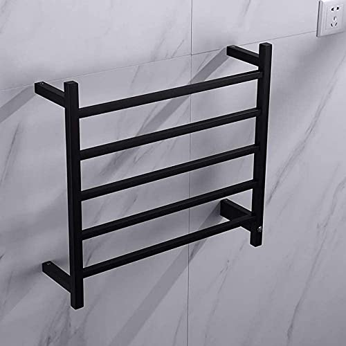 N/Z Home Equipment Towel Warmer Towel Warmer Heated Towel Rack Wall Mount 304 Stainless Steel Energy Saving Square Bars Electric Heated Warmer with Switch Black