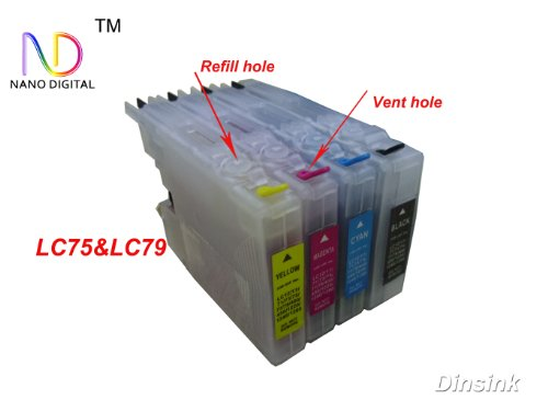 4 Pack ND Brand Dinsink Refillable Ink Cartridge for Brother LC71 LC75 LC79 (nonOEM): MFC-J280W, MFC-J430W, MFC-J625DW, MFC-825DW, MFC-J835DW, MFC-J5910DW, MFC-J6510DW, MFC-J6710DW, Black Cyan, Magenta, and Yellow。The item with ND logo