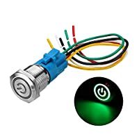 SHENLIJUAN 19ミリメートルメタル防水12 / 24V 5ピンのON-OFF押しボタンスイッチLED電源スイッチ (Color : Green, Size : 24V)