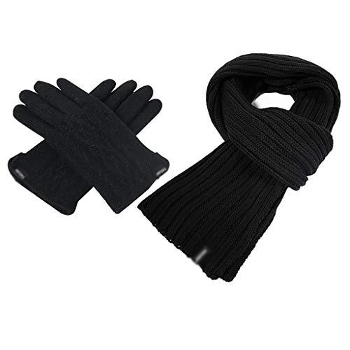 Bufanda de invierno suave para hombre, cálida y gruesa, conjunto de guantes de punto, bufanda de algodón, colores lisos, larga y suave, para mayor calidez (color: negro 2)