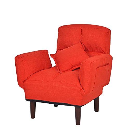 FEI Confortable Lazy Couch Leisure Fauteuil pour salle à manger Solide et durable (Couleur : Rouge)