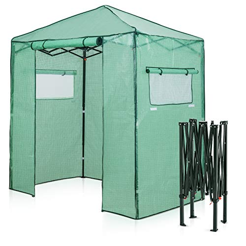 EAGLE PEAK 6'x4' Portable Walk-in Greenhouse Instant Pop-up Fast Setup Indoor Outdoor Plant Gardening Greenhouse Canopy, Front Roll-Up Zipper Entry Doors and Roll-Up Side Windows