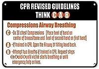 耐久性のある錆びないビジネスサインイン、CPRオープン気道で2つの呼吸を試み、犠牲者の呼吸を繰り返します-ビンテージの外観の金属サインホームハウスコーヒービールドリンクバーの装飾