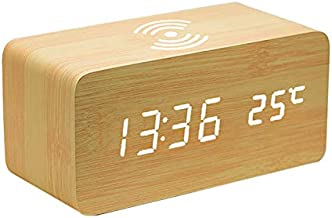 Beautiful Digital Alarm Clock, Wireless Mobile Charging Digital Clock, Digital Alarm Clock, Time Date Temperature Wooden Digital Alarm Clock, Heavy Sleeper Digital Alarm Clock with Wireless Mobile Charging
