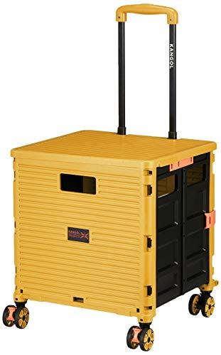 [カンゴール] キャリーカート 4輪(ストッパー機能付き) コンテナキャリー 折り畳み可能キャリー 耐荷重35kg 35 cm イエロー