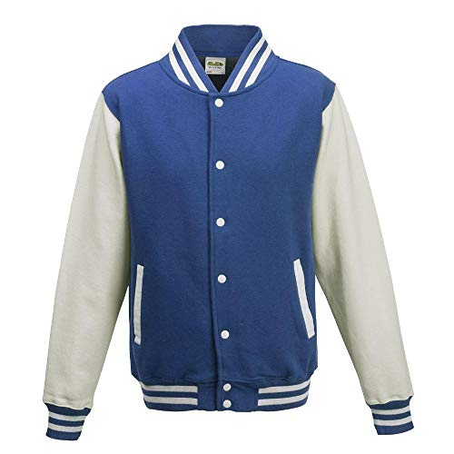 "Just Hoods - Giacca College ""Varsity Jacket"", unisex Blu Royal/bianco S"