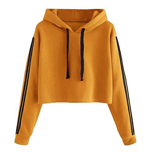 ZCZH Damen Hoodies Langarm Streifen Kapuzenpullover All-Match Einfarbige Tops Herbst Frauen Casual Drawstring Hooded Sweatshirts Damen Elegante Loose Sweatshirt Pullover M