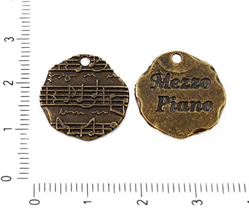 4pcs Antique Bronze Tone Mezzo Piano Nachricht Notizen Gehämmert Münze Anhänger Charme-böhmischen Metall Ergebnisse 18mm Loch 1mm