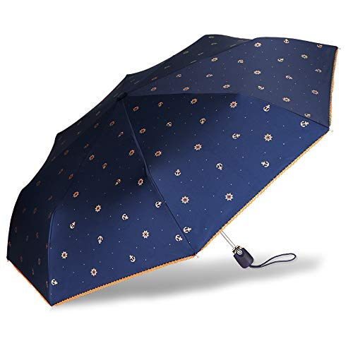 Cuby UV Sun Umbrella Compact Folding Travel Umbrella Auto Open and Close for Windproof, Rainproof & 99% UV Protection Parasol with Black Anti-UV Coating (Blue Anchor)