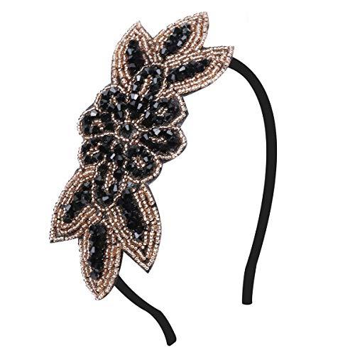 1920s Stirnband - Damen Flapper Stirnbänder Haarreif Gatsby Kostüm Accessoires Retro 20er Jahre Flapper Haarband Kopfschmuck (Gold B)